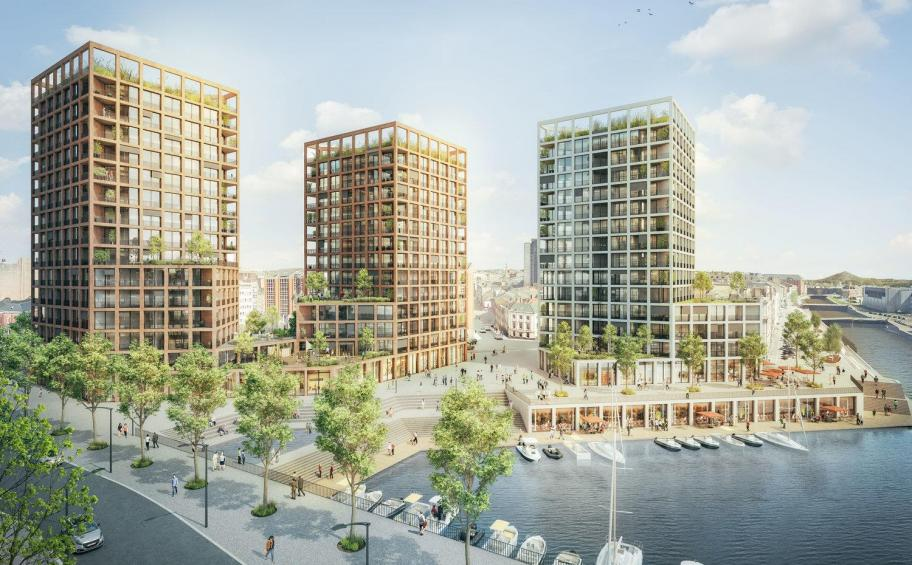 Eiffage builds the Ohr!zons project,  five towers of mixed use, around the port of Charleroi in Belgium